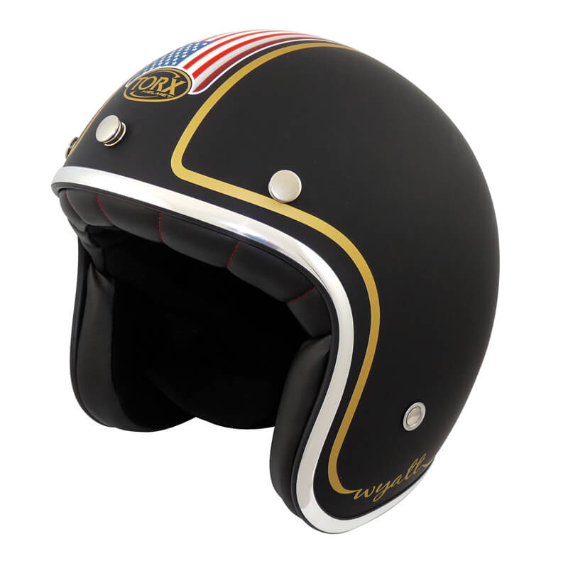 casque jet moto custom drapeau americain look biker pas cher motards a la francaise. Black Bedroom Furniture Sets. Home Design Ideas