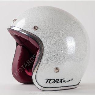 le casque jet wyatt de torx est un casque bol au look m tal flake blanc id al pour donner du. Black Bedroom Furniture Sets. Home Design Ideas