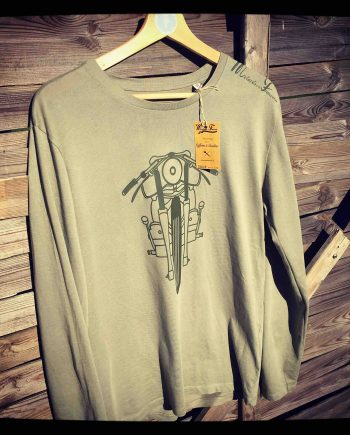 sweat shirt moto kaki scrambler motif vintages