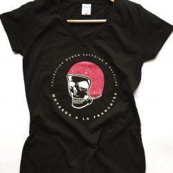 tee shirt femme motarde biker harley tete de mort skull paillettes pink rose lady custom malf motards a la francaise