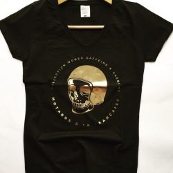 tee shirt femme motarde biker tete de mort skull gold or malf motards a la francaise harley lady women