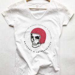 tee shirt femme moto biker lady harley custom skull tete de mort a pailletes pink rose malf motards a la francaise cafe racer